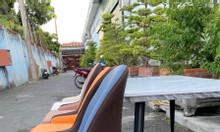 Ghế cafe chân sắt giả gỗ bọc simili
