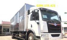 Giá bán xe tải faw 8 tấn thùng dài 8m, xe tải thùng kín chở hàng nệm.