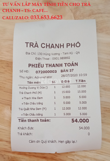 Lắp máy tính tiền cho quán trà chanh tại Tiền Giang