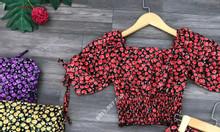 Set bộ đồ lụa cao cấp đẹp có dún buộc nơ họa tiết hoa cúc - L17
