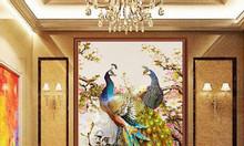 Tranh 3d chim công phòng khách