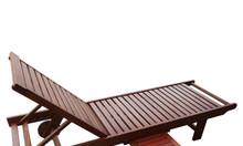 Ghế tắm nắng gỗ dầu cao cấp có bánh xe