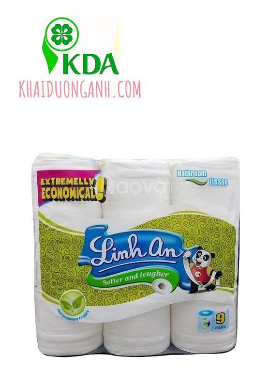 Giấy vệ sinh cuộn nhỏ cao cấp Linh An, giấy vệ sinh giá sỉ Bạc Liêu