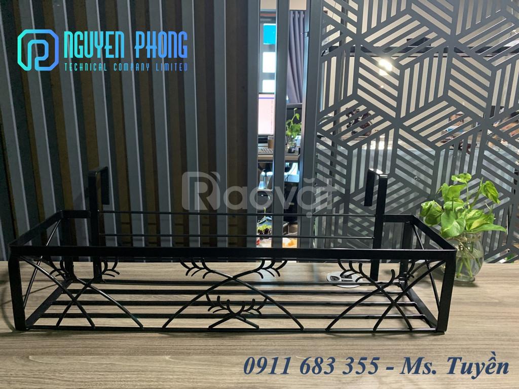 Set 3 kệ sắt trang trí, kệ đứng cao, mặt gỗ vuông, trang trí nội thất