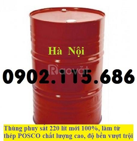 Thùng phuy sắt 200l, thùng phuy sắt 2 nắp nhỏ, thùng phuy sắt đựng hóa