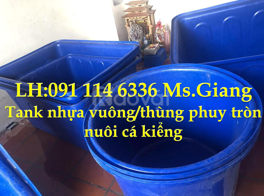 Tank nhựa vuông 500 lít trồng rau sạch, thùng phuy nhựa 2000 lít tròn