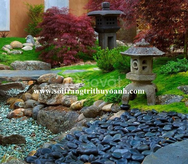 Sỏi đen bóng dùng để trang trí tiểu cảnh sân vườn