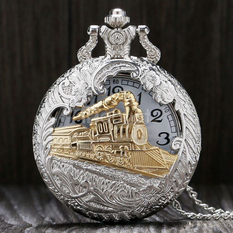 Đồng hồ quả quýt chạm khắc hình đoàn tàu hỏa