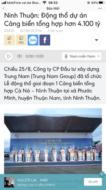 Đất nền sổ đỏ Biển Cà Ná, cạnh cảng biển quốc tế lớn Ninh Thuận