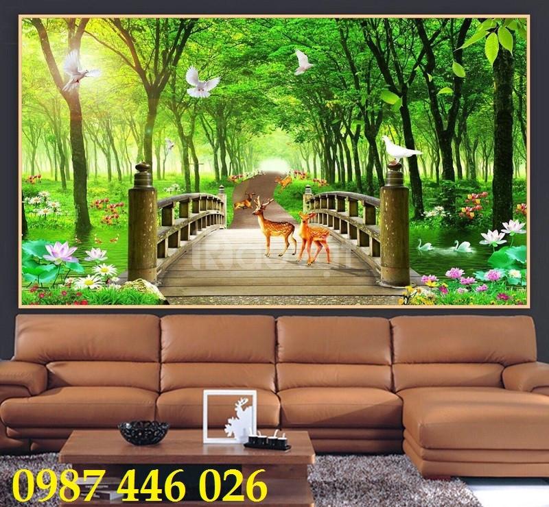 Gạch tranh rừng cây xanh 3d ốp tường