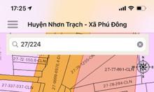 Đất Nhơn Trạch 832m2 mặt tiền đường Trần Văn Trà, xã Phú Đông
