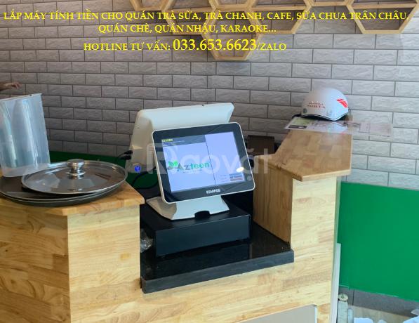 Lắp máy tính tiền 2 màn hình cho quán trà sữa tại Cà Mau