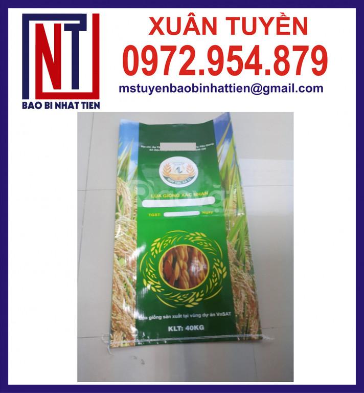 Bao PP đựng lúa giống in ống đồng, in bao lúa 40kg