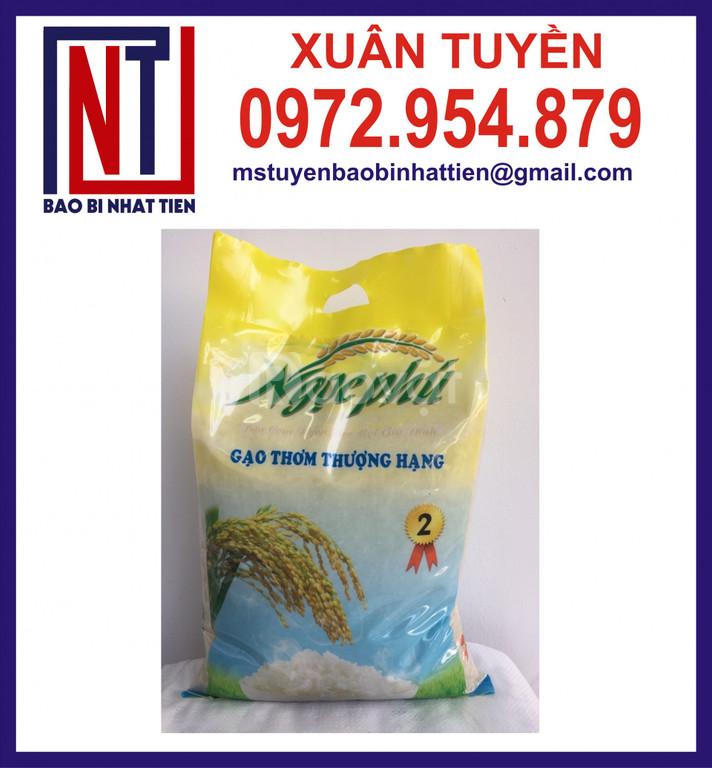 Túi PA/PE đựng gạo 5kg, bao bì gạo giá tốt chất lượng cao