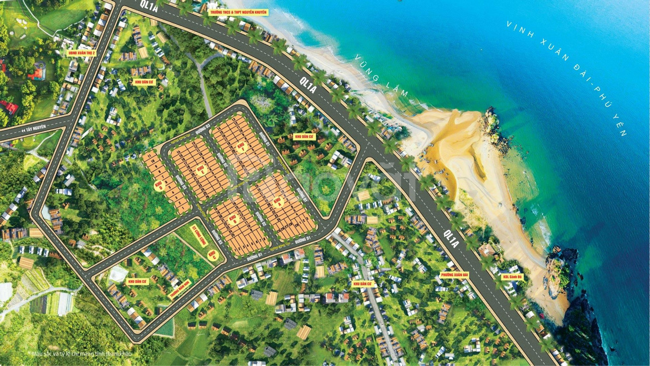 Bán 100m2 đất biển sổ đỏ gần Resorts 5 sao Vũng Lắm, Vịnh Xuân Đài