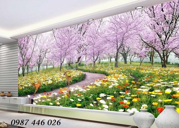Tranh 3d vườn hoa, tranh trang trí, tranh ốp tường đẹp