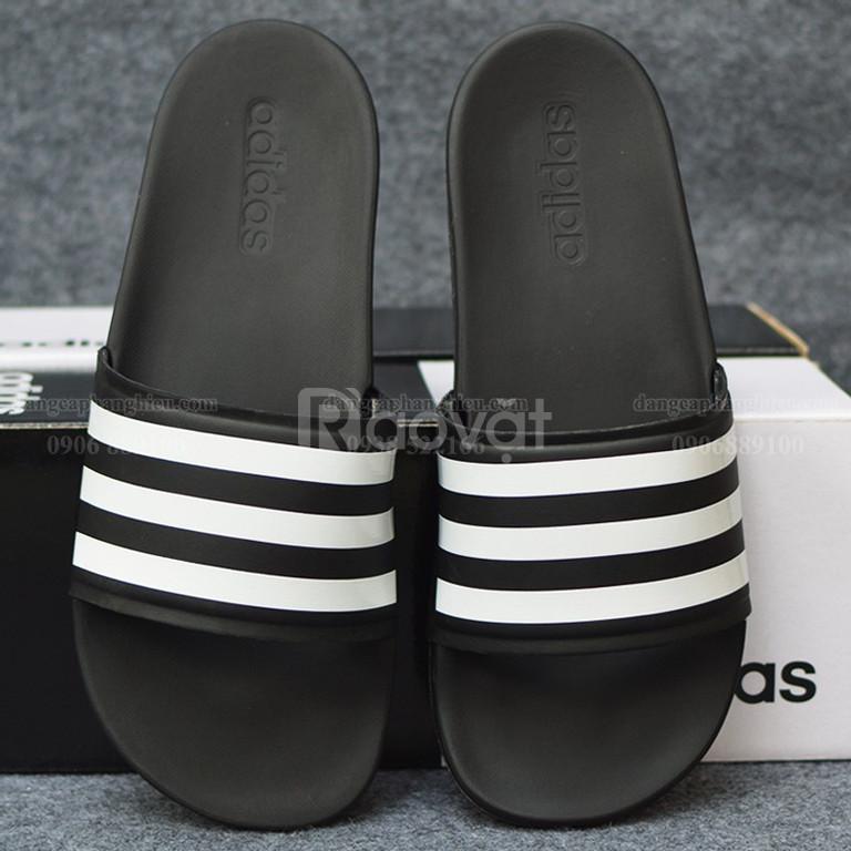 Dép Adidas Cloudfoam Plus Sample màu đen đế đen sọc trắng