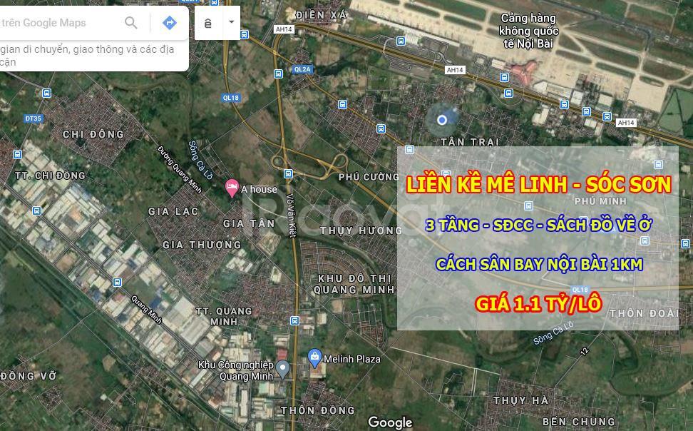 Bán liền kề sdcc 3tầng ô tô đỗ cửa Cách sân bay Nội Bài 1km giá 1.1tỷ