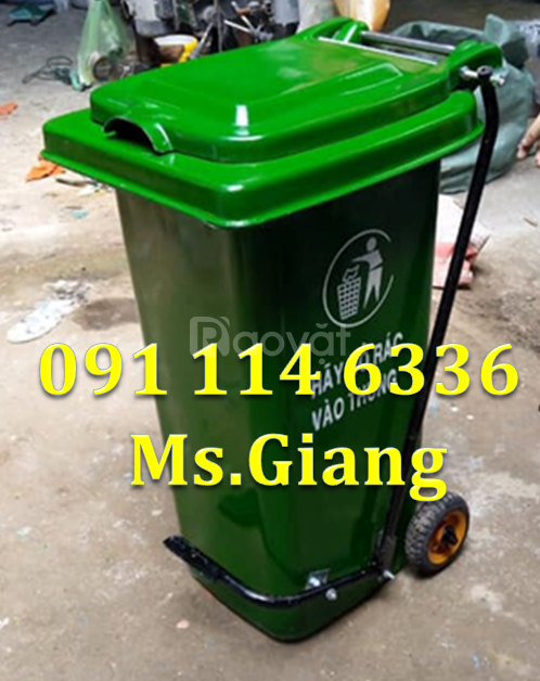 Kích thước thùng rác 120L màu cam, thùng rác đạp chân 240L composite