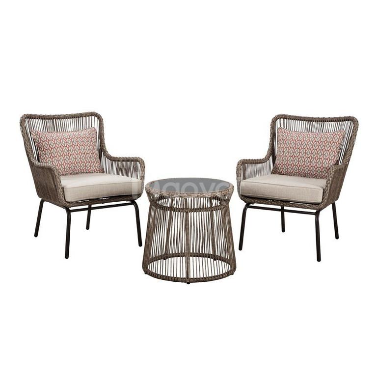 Bộ bàn ghế nhựa mây ngoài trời thiết kế độc đáo