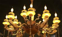 Đèn chùm pha lê nến màu vàng 15 tay