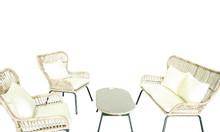 Bộ bàn ghế nhựa mây dạng sợi thanh lịch