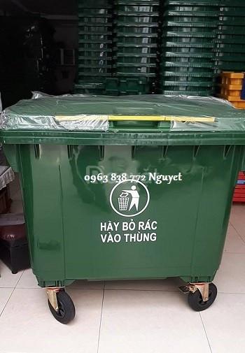 Xe đẩy rác 660 lít - thùng đựng rác 660 lít nhựa hdpe