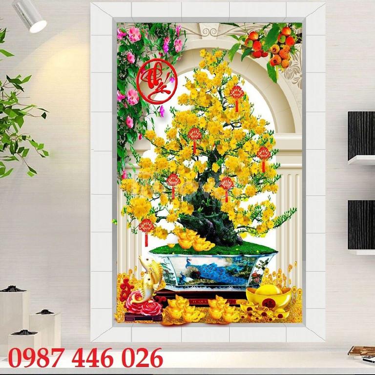 Tranh hoa mai, tranh gạch, tranh dán tường 3d đẹp 0112