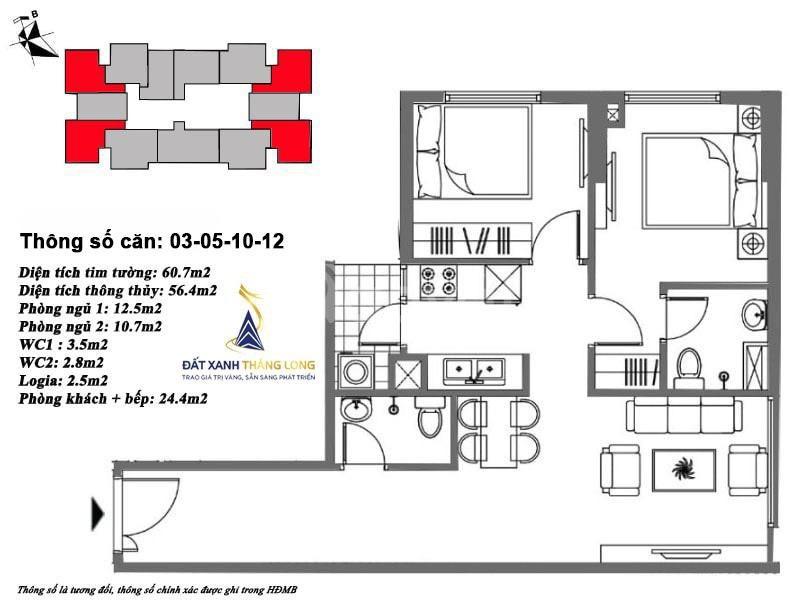 Cần tiền gấp nên bán căn hộ 68,9m giá thanh lí tại Mipec Kiến Hưng