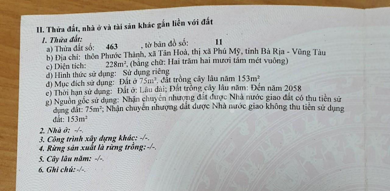 Bán đất huyện Tân Thành, Bà Rịa - Vũng Tàu