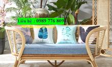 Sofa băng dài bằng mây tre đan