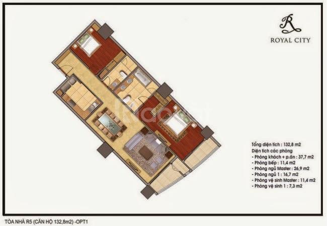 Bán gấp căn hộ Royal City 132m2, 2PN, giá 4.8 tỷ