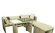 Bộ Sofa hình chữ L màu nâu xám, thiết kế đơn giản, nhỏ gọn