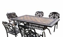 Bộ bàn ghế hợp kim nhôm đúc mặt đá hình chữ nhật