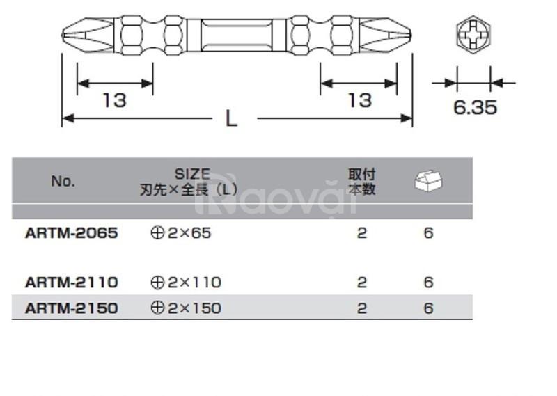 Bộ mũi vặn vít 2 đầu có từ tính +2×150 ARTM-2150 Anex, Nhật Bản