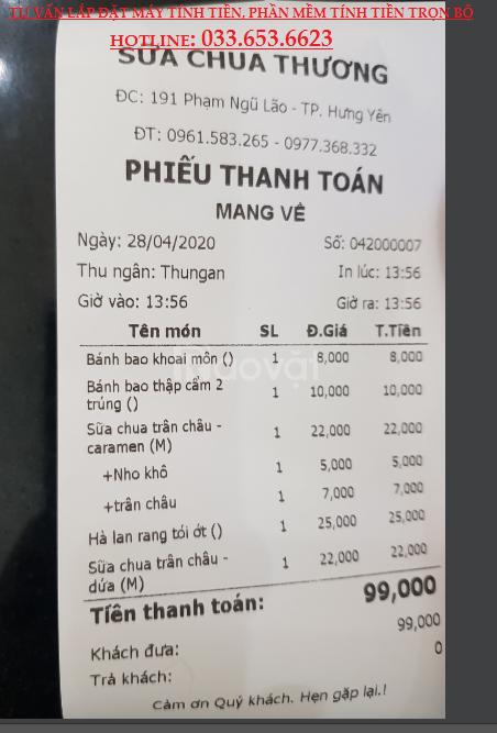 Tư vấn lắp máy tính tiền cho quán sữa chua tại Bình Dương