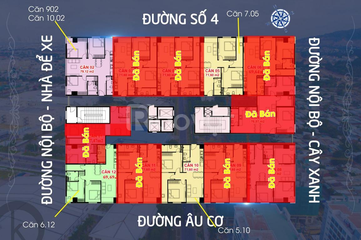 Bán chung cư thương mại 2PN 2WC, 72m2, vị trí đẹp, hỗ trợ trả góp