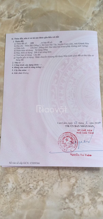 Bán đất huyện Cam Lâm, khu trung cấp nghề Cam Lâm