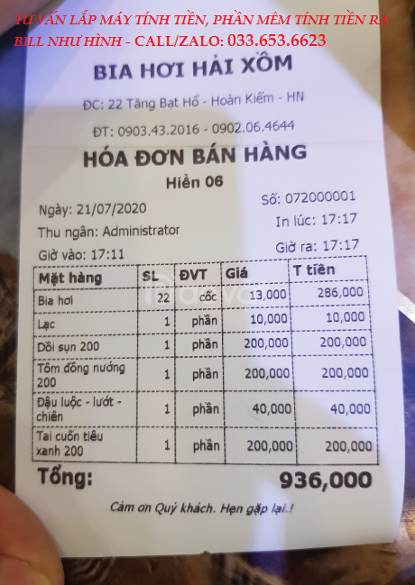 Bán bộ máy tính tiền cho quán ăn tại Tiền Giang