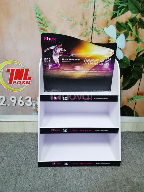Kệ format trưng bày quảng cáo mỹ phẩm, thuốc tây, sản phẩm đóng hộp