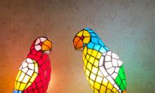 Giao lưu đôi đèn tường chim vẹt tiffany hàng hiếm