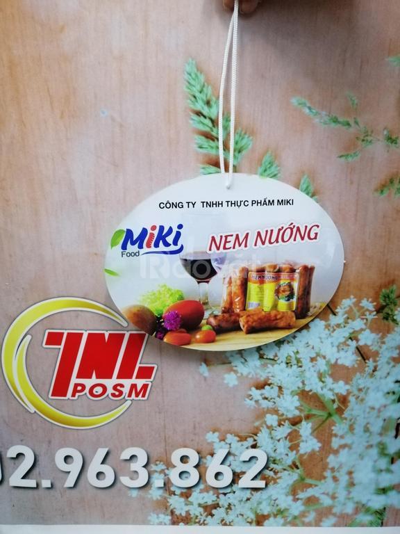 Hanger giấy, vỉ treo trần quảng cáo trưng bày sản phẩm chả Miki