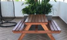 Bộ bàn ghế chữ A, gỗ dầu cao cấp