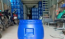 Thùng phuy nhựa 30l, thùng nhựa tròn 30l màu xanh