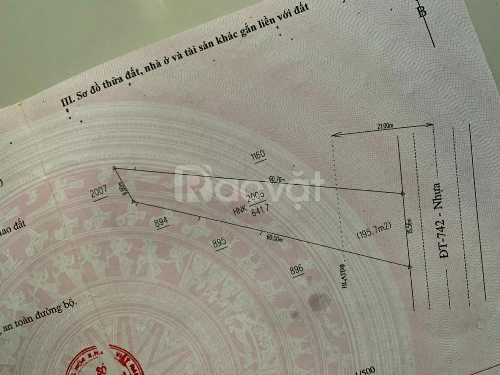Cần bán đất mặt tiền DT742, xã Vĩnh Tân