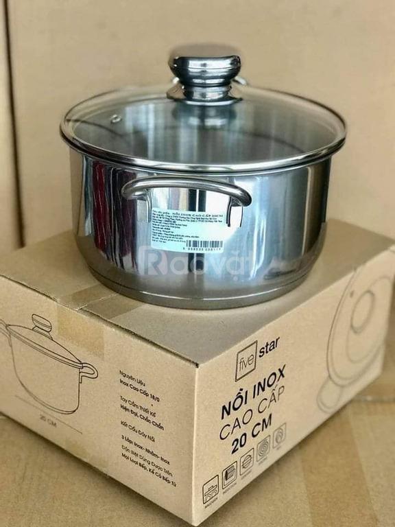 Nồi inox Fivestar 20cm, vung kính 3 đáy, dùng được bếp từ