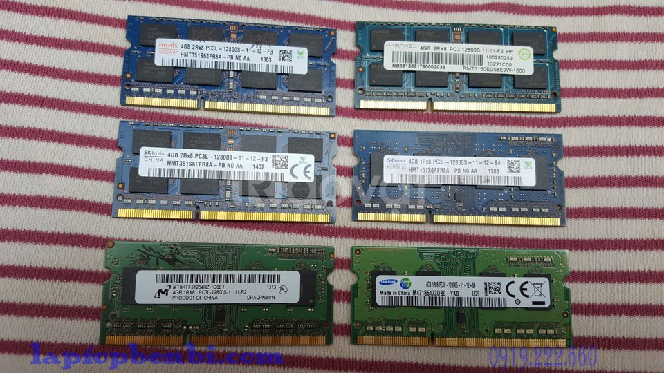 Ram laptop 4GB DDR3L,bus 1600mhz, ram zin laptop tháo máy
