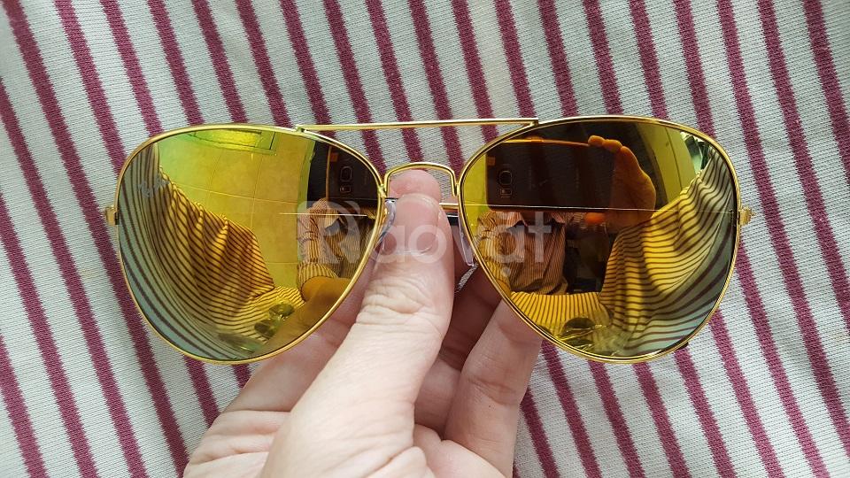 Mắt kính tráng gương thời trang nam nữ màu vàng