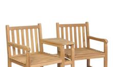 Bộ ghế đôi ngoài trời thiết kế từ gỗ tếch cao cấp