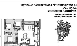 Cần bán gấp căn hộ 4 phòng ngủ, 122m2, tòa A1 Vinhomes Gardenia